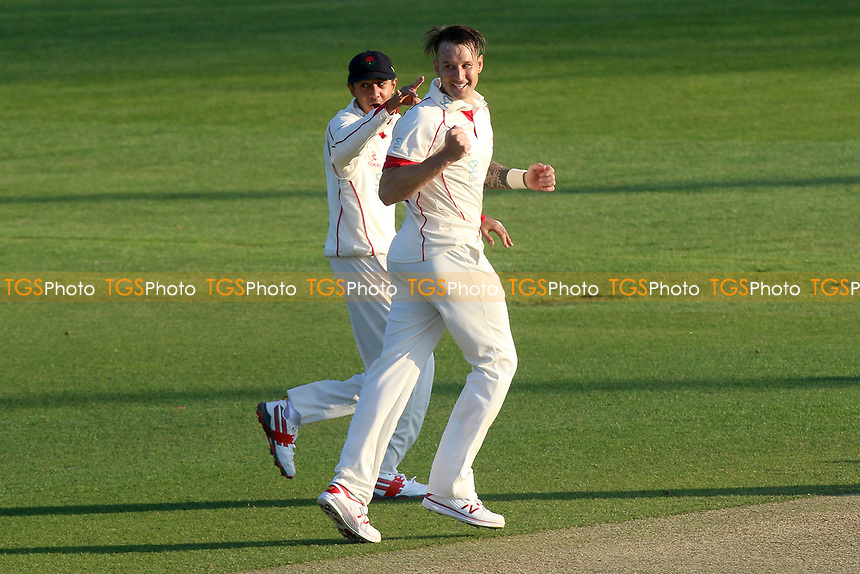 Kyle Jarvis of Lancashire celebrates taking the wicket of Nick Browne during Essex CCC vs Lancashire CCC, Specsavers County Championship Division 1 Cricket at The Cloudfm County Ground on 7th April 2017