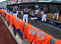 Virginia's game jerseys rest on the dugout rail. Virginia beat Cal 8-1 at the College World Series on June 23, 2011 in Omaha, Neb. (Photo by Michelle Bishop)..