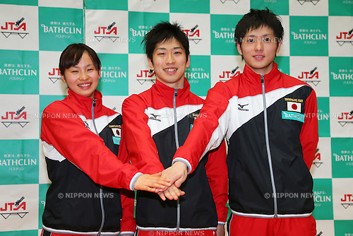 (L to R) Ayano Kishi, Yasuhiro Ueyama, Masaki Ito (JPN), .April 28, 2012 - Trampoline : .Trampoline Japan National Team Selection match for The London Olympics 2012 .at JISS, Tokyo, Japan. .(Photo by Daiju Kitamura/AFLO SPORT) [1045]