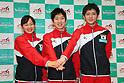 (L to R) Ayano Kishi, Yasuhiro Ueyama, Masaki Ito (JPN), .April 28, 2012 - Trampoline : .Trampoline Japan National Team Selection match for The London Olympics 2012 .at JISS, Tokyo, Japan. .(Photo by Daiju Kitamura/AFLO SPORT) [1045]