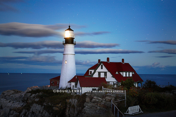 The Benevolent Sentinel, The Portland Head Light At Night, Portland Maine