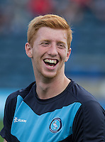 Ryan Sellers of Wycombe Wanderers is all smiles pre match during the Sky Bet League 2 match between Wycombe Wanderers and Plymouth Argyle at Adams Park, High Wycombe, England on 12 September 2015. Photo by Andy Rowland.