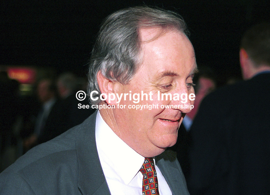 John Ellis, TD, Fianna Fail, Rep of Ireland. Taken at Fianna Fail (Rep of Ireland Political Party) Ard Fheis (annual party conference) March 2000. Ref: 200003016..Copyright Image from Victor Patterson, 54 Dorchester Park, Belfast, UK, BT9 6RJ..Tel: +44 28 9066 1296.Mob: +44 7802 353836.Voicemail +44 20 8816 7153.Skype: victorpattersonbelfast.Email: victorpatterson@mac.com.Email: victorpatterson@ireland.com (back-up)..IMPORTANT: If you wish to use this image or any other of my images please go to www.victorpatterson.com and click on the Terms & Conditions. Then contact me by email or phone with the reference number(s) of the image(s) concerned.