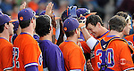 Photo of the Clemson Tigers in a game against the Furman Paladins on Wednesday, May 8, 2013, at Fluor Field at the West End in Greenville, South Carolina. (Tom Priddy/Four Seam Images)