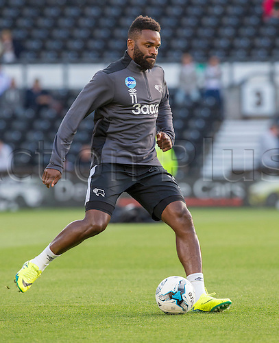 09.08.2016. iPro Stadium, Derby, England. Football League Cup 1st Round. Derby versus Grimsby Town. Derby County striker Darren Bent  warming up before the match.