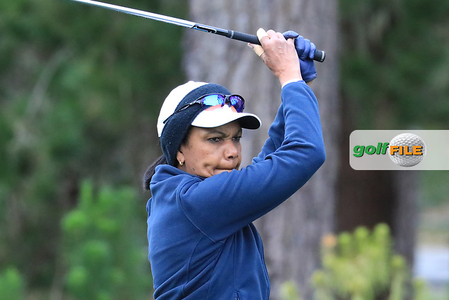 Condoleeza Rice, Former Secretary of State in action at Spyglass Hill Golf Course during the second round of the AT&T Pro-Am, Pebble Beach Golf Links, Monterey, USA. 08/02/2019<br /> Picture: Golffile | Phil Inglis<br /> <br /> <br /> All photo usage must carry mandatory copyright credit (© Golffile | Phil Inglis)