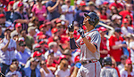 14 April 2013: Atlanta Braves infielder Andrelton Simmons in action against the Washington Nationals at Nationals Park in Washington, DC. The Braves shut out the Nationals 9-0 to sweep their 3-game series. Mandatory Credit: Ed Wolfstein Photo *** RAW (NEF) Image File Available ***