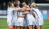 Columbus, Ohio - Thursday March 01, 2018: England celebrates their goal during a 2018 SheBelieves Cup match between the women's national teams of the England (ENG) and France (FRA) at MAPFRE Stadium.