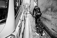Christopher Juul-Jensen (DEN/Mitchelton-Scott) warming up ahead of the stage<br /> <br /> stage 15: Tolmezzo &ndash; Sappada (176 km)<br /> 101th Giro d'Italia 2018