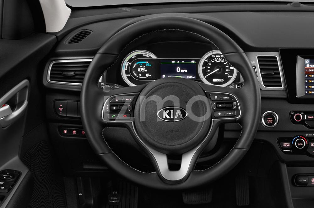 Car pictures of steering wheel view of a 2018 KIA Niro LX PHEV 5 Door Hatchback