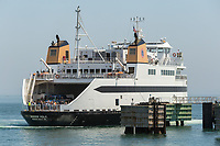"Steamship Authority ferry ""MV Woods Hole"" to Martha's Vineyard prepares to dock at the Oak Bluffs ferry terminal after arriving from the mainland."