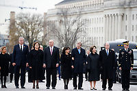 From right, former President George W. Bush, second from right, former first lady Laura Bush, Neil Bush, Maria Bush, Bobby Koch, Doro Koch, Jeb Bush and Columba Bush, stand just prior to the flag-draped casket of former President George H.W. Bush being carried by a joint services military honor guard from the U.S. Capitol, Wednesday, Dec. 5, 2018, in Washington. <br /> CAP/MPI/RS<br /> &copy;RS/MPI/Capital Pictures