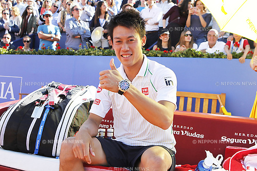 Kei Nishikori (JPN), APRIL 27, 2014 - Tennis : Kei Nishikiori of Japan sums up after winning men's final match of the ATP 500 World Tour Barcelona Open Banco Sabadell 2014 tennis tournament at the Real Club de Tenis in Barcelona, Spain. (Photo by AFLO)
