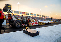 Sep 23, 2016; Madison, IL, USA; Detailed view of the radio controlled engine shut off switch for NHRA top fuel driver Leah Pritchett during qualifying for the Midwest Nationals at Gateway Motorsports Park. Mandatory Credit: Mark J. Rebilas-USA TODAY Sports