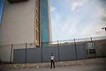 HAVANA, CUBA -- MARCH 23, 2015:  A guard stands in front of the United States Embassy in Havana, Cuba on March 23, 2015. Photograph by Michael Nagle