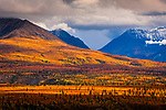 Dramatic sunset lights up Chugach Mountains and fall colored tundra, viewed from Glenn Hwy, Southcentral Alaska, Autumn.