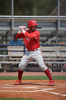 GCL Phillies East Cesar Rodriguez (12) bats during a Gulf Coast League game against the GCL Yankees East on July 31, 2019 at Yankees Minor League Complex in Tampa, Florida.  GCL Yankees East defeated the GCL Phillies East 11-0 in the first game of a doubleheader.  (Mike Janes/Four Seam Images)