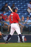 Mississippi Braves third baseman Rio Ruiz (5) at bat during a game against the Pensacola Blue Wahoos on May 28, 2015 at Trustmark Park in Pearl, Mississippi.  Mississippi defeated Pensacola 4-2.  (Mike Janes/Four Seam Images)