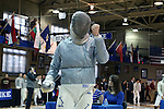 11 February 2017: Duke's Pascual Di Tella (ARG) reacts during Saber. The Duke University Blue Devils hosted the University of North Carolina Tar Heels at Card Gym in Durham, North Carolina in a 2017 College Men's Fencing match. Duke won the dual match 19-8 overall, 6-3 Foil, 6-3 Epee, and 7-2 Saber.