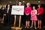 Newt Gingrich, joined by his family, speaks at a news conference announcing he is suspending his campaign for the Republican nomination for president on Wednesday, May 2, 2012 in Arlington, VA.