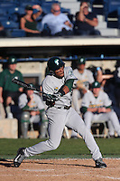 Grant Brown #23 of the Tulane Green Wave bats during a game against the Pepperdine Waves at Eddy D. Field Stadium on March 13, 2015 in Malibu, California. Tulane defeated Pepperdine, 9-3. (Larry Goren/Four Seam Images)