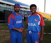 A world handshake for sport - with USA Cricket Capt Steve Massiah and his Afghanistan counterpart Nawroz Mangal shaking hands when they met in Abu Dhabi ahead of todays (thurs) historic match between the two countries in their T20 World Cup Qualifying match in Dubai Sports Stadium - Picture by Donald MacLeod 10.02.10