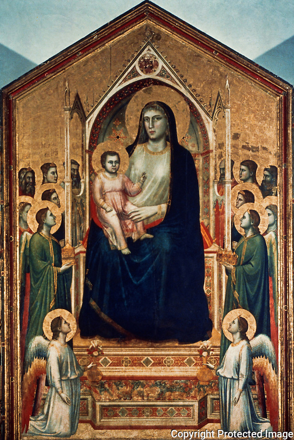 Renaissance Art:  Giotto (1266-1337)--Our Lady with the Infant Jesus, Saints and Angels.  Galleria Uffizi.