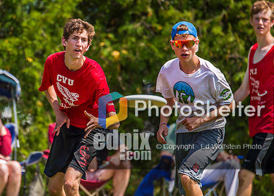 30 May 2015: Champlain Valley Union High School plays BFA Fairfax in the semi-final round of the VYUL State Ultimate Disk Championships at Bombardier Park in Milton, Vermont. CVU defeated BFA Fairfax to advance to the finals against Montpelier. Mandatory Credit: Ed Wolfstein Photo *** RAW (NEF) Image File Available ***