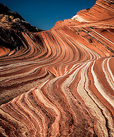 Erosion has produced parallel lines in the fragile sandstone of Sand Cove at Coyote Buttes, Arizona