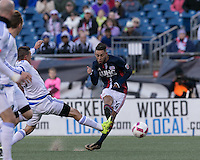 Foxborough, Massachusetts - October 23, 2016: First half action. In a Major League Soccer (MLS) match, New England Revolution (blue/white) vs Montreal Impact (white), at Gillette Stadium.