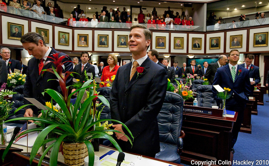 TALLAHASSEE, FLA. 3/2/10-OPENING DAY CH22-Rep. Dean Cannon, R-Winter Park, center, soaks up opening day ceremonies, Tuesday at the Capitol in Tallahassee. Assuming his votes hold, Cannon will become Speaker of the House in 2011. .COLIN HACKLEY PHOTO