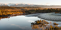 Views of Southern Alps with Mt. Tasman and Aoraki, Mt. Cook across Five Mile Lagoon, Westland Tai Poutini National Park, West Coast, UNESCO Wolrd Heritage Area, New Zealand, NZ