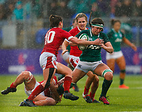 9th February 2020; Energia Park, Dublin, Leinster, Ireland; International Womens Rugby, Six Nations, Ireland versus Wales; Anna Caplice of Ireland is tackled by Robyn Wilkins of Wales