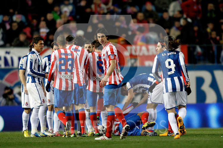 Atletico de Madrid's players and Espanyol's players having an argument during La Liga  match. February 24,2013.(ALTERPHOTOS/Alconada)