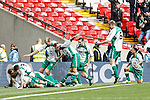 LONDON, ENGLAND - MARCH 29: North Ferriby United players celebrate scoring an equalising goal to make it 2-2 during the FA Carlsberg Trophy Final 2015 at Wembley Stadium on March 29, 2015 in London, England. (Photo by David Horn/EAP)