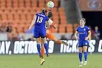 Houston, TX - Sunday Sept. 25, 2016: Kendall Fletcher, Carli Lloyd during a regular season National Women's Soccer League (NWSL) match between the Houston Dash and the Seattle Reign FC at BBVA Compass Stadium.