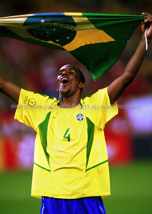 6/27/2002--Saitama, Japan..Junior Roque of Brazil celebrates winning the semi final match. Brazil beat Turkey 1-0, with a second half goal by Ronaldo, and will face Germnay ion the final in Yokohama this Sunday, June 30th..All photographs ©2003 Stuart Isett.All rights reserved.This image may not be reproduced without expressed written permission from Stuart Isett.