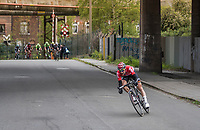 Tim Wellens (BEL/Lotto-Soudal) tries to break away from the leading group in the city streets of Seraign with less then 10km to go.<br /> <br /> 103rd Li&egrave;ge-Bastogne-Li&egrave;ge 2017 (1.UWT)<br /> One Day Race: Li&egrave;ge &rsaquo; Ans (258km)