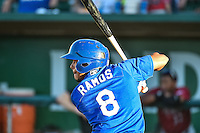 Kelvin Ramos (8) of the Ogden Raptors at bat against the Idaho Falls Chukars in Pioneer League action at Lindquist Field on August 27, 2015 in Ogden, Utah. Ogden defeated the Chukars 4-3.  (Stephen Smith/Four Seam Images)
