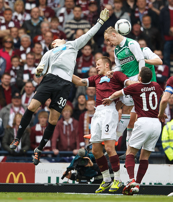 Jamie MacDonald punches the ball away from the head of Leigh Griffiths