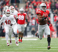 Ohio State Buckeyes running back Ezekiel Elliott (15) scores a touchdown in the 1st quarter at Ohio Stadium Nov. 22, 2014.(Dispatch photo by Eric Albrecht)