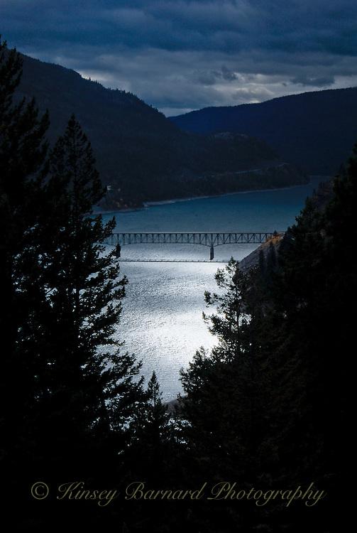 Moonlight on Lake Koocanusa and the Koocanusa bridge