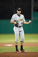 West Virginia Black Bears relief pitcher Cam Alldred (46) gets ready to deliver a pitch during a game against the Batavia Muckdogs on June 18, 2018 at Dwyer Stadium in Batavia, New York.  Batavia defeated West Virginia 9-6.  (Mike Janes/Four Seam Images)