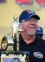 Nov 14, 2010; Pomona, CA, USA; NHRA top fuel dragster team owner Alan Johnson after winning the 2010 top fuel championship during the Auto Club Finals at Auto Club Raceway at Pomona. Mandatory Credit: Mark J. Rebilas-