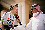 Yoann Offredo (FRA) Circus-Wanty Gobert interviewed before the start of Stage 5 of the Saudi Tour 2020 running 144km from Princess Nourah University to Al Masmak, Saudi Arabia. 8th February 2020. <br /> Picture: ASO/Pauline Ballet   Cyclefile<br /> All photos usage must carry mandatory copyright credit (© Cyclefile   ASO/Pauline Ballet)