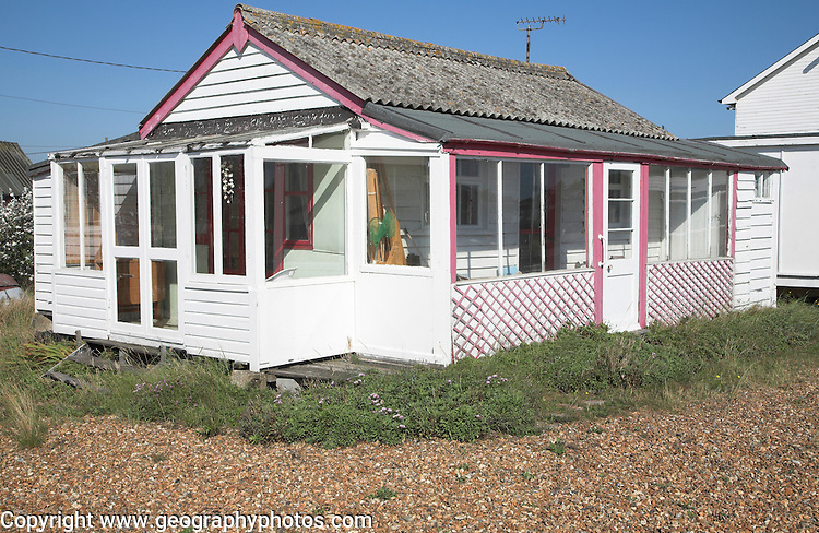 Bungalow chalet. Small fishing and sailing hamlet of Felixstowe Ferry at the mouth of the River Deben, Suffolk, England