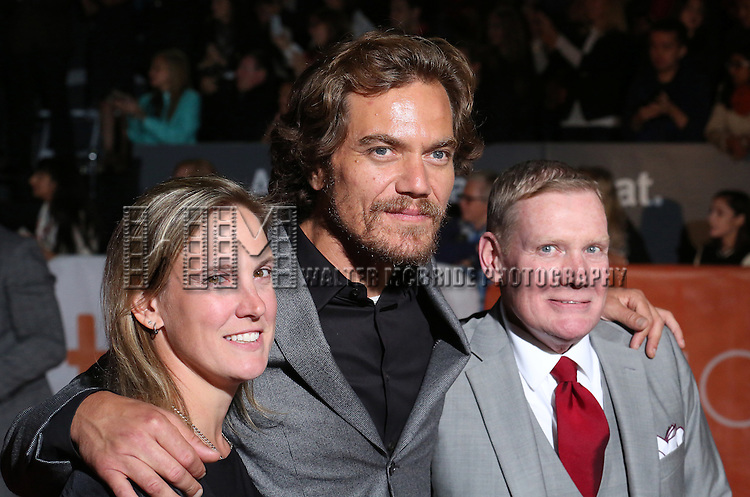 Stacie Andree, Michael Shannon and Dane Wells attends the 'Freeheld' premiere during the 2015 Toronto International Film Festival at Roy Thomson Hall on September 13, 2015 in Toronto, Canada.