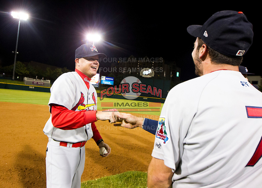 Manager Mike Shildt (8) of the Springfield Cardinals celebrate after game 3 of the Texas League Championship Series against the Frisco RoughRiders at Dr. Pepper BallPark on September 15, 2012 in Frisco, TX.  The Cardinals became the 2012 Texas League Champions after defeating the RoughRiders 2-1. (David Welker/Four Seam Images)