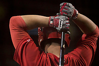 Los Angeles Angels first baseman Matt Thaiss (57) during a Minor League Spring Training game against the Milwaukee Brewers at Tempe Diablo Stadium on March 29, 2018 in Tempe, Arizona. (Zachary Lucy/Four Seam Images)