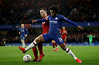 3rd March 2020; Stamford Bridge, London, England; English FA Cup Football, Chelsea versus Liverpool; Andrew Robertson of Liverpool competes for the ball with Willian of Chelsea